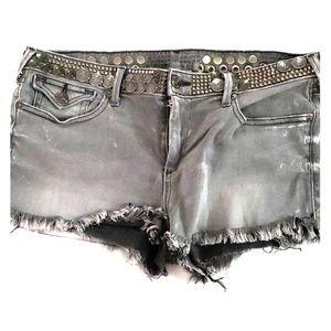 True Religion Grey Wash denim shorts